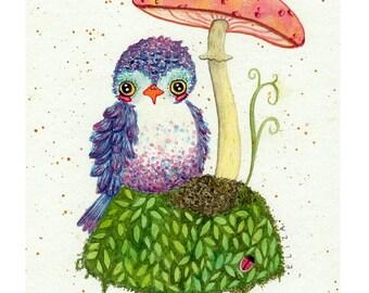 Tiny Island Bird and Mushroom Watercolor Print/ lady bug portrait custom illustration drawing by Eliza George