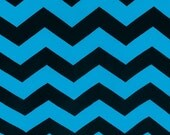 Turquoise and Black KNIT Chevron Fabric - Chevron ONE YARD - Jersey Knit Fabric