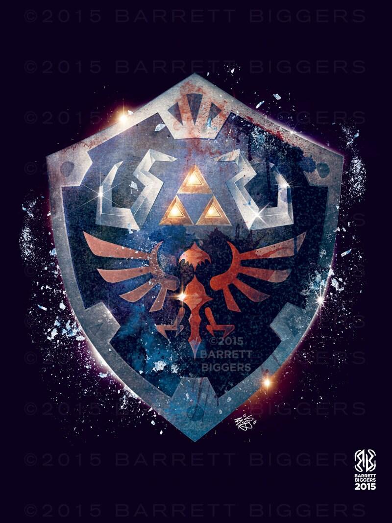 Legend Of Zelda Epic Hylian Shield Poster Signed Museum