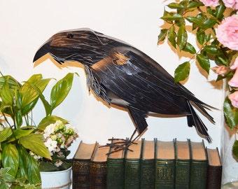 Raven Sculpture, Rook paper art, Handmade Crow, Raven figurine