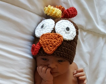 Crochet Baby Thanksgiving Hat, Crochet Turkey Baby Hat
