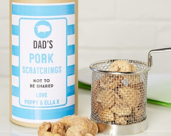 Pork Scratching in Personalised Gift Tin - boyfriend gift - husband gift - gift for foodie - pork gift - Dad birthday gift - Dad snacks -