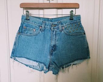 Vintage Reworked Levi Denim Shorts Studded W28''