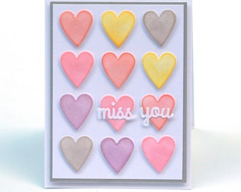 Candy Hearts I miss you blank card, pastel, Love, thinking of you greeting card