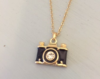 Gold Camera Necklace - Gold and Black Rhinestone Camera Necklace - Camera Jewelry - Black Camera Necklace - Photographer Necklace