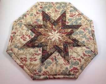 Cream Floral and Brown Floral Star Hot Pad