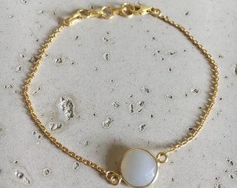 White Moonstone Bracelets- Gemstone Bracelets- Stone Silver Bracelets- Dainty Bracelets- Everyday Bracelets- Friendship Bracelet- Bridesmaid