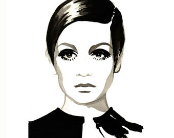 Twiggy, print from original watercolor and mixed media fashion illustration by Dena Cooper