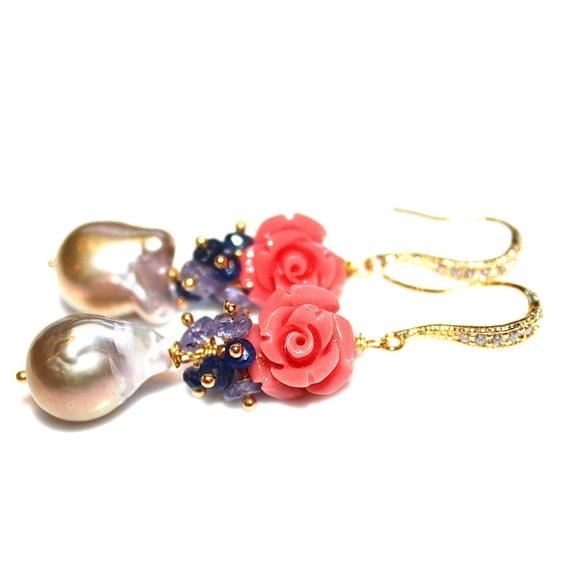 Baroque Pearl Earrings Bridal Earrings Wedding Jewelry Large Pearl Earrings Carved Coral Earrings Sapphire Earrings Tanzanite Earrings