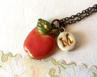 Apple Necklace, Fruit Necklace, Girl letter jewelry, Fun Birthday gift for 6 years old girl, teacher gift, Back to school jewlery