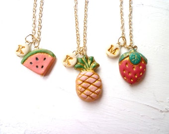 Fruit and letter charm Necklaces, Coordinated, Summer, Pineapple, Strawberry, Watermelon, Jewelry, 3,4,5,6,7,8,9 years old, matching sisters