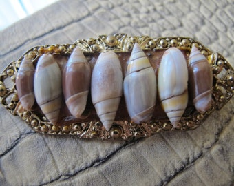 SEASIDE TREASURE Genuine Shellshell Brooch Vintage Pin/ One of a Kind Vintage Shell Pin/ Victorian Revival Designed Pin/ Miniature Shells