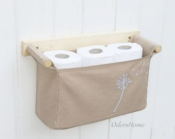 Over the toilet storage for neutral home, dandelion embroidery, wall mounted wooden storage