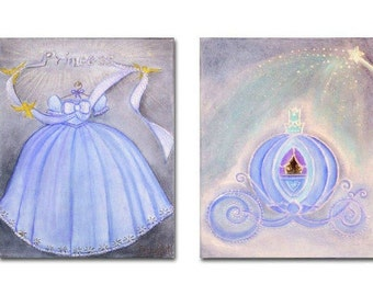 Baby Girl Nursery, Princess Wall Art, Cinderella, Nursery decor, Carriage, Dress, Nursery Prints, Kids Decor, Girls room Decor, Nursery art