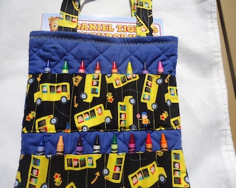 School bus print crayon bag.  Coloring bag.  Crayon tote.  Daniel Tiger coloring book. Crayola crayons.  Ready to ship