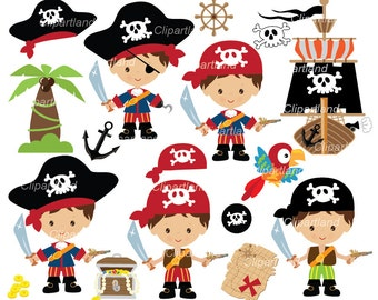 INSTANT DOWNLOAD. CP_61_pirates_boy. Pirate boy clipart. Personal and commercial use.