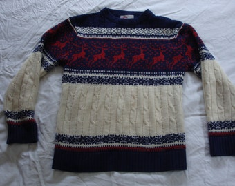 Vintage Astor One Winter Reindeer Sweater - Size Medium