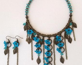 Τurquoise jewelry - Polymer jewelry - Handmade Buttercups necklace earrings jewelry set