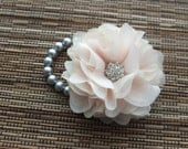 Wrist Corsage, Champagne Chiffon Flower Corsage with Charcoal Grey Pearl Bracelet, bridal Corsage, bridesmaid Corsages