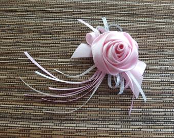 Pink Boutonniere, Pink Satin Rose Boutonniere,  Pink Ribbon Rose Boutonniere