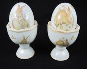 Bunny Egg Cups with Salt and Pepper Shakers designed by Susan Winget Rabbits Easter