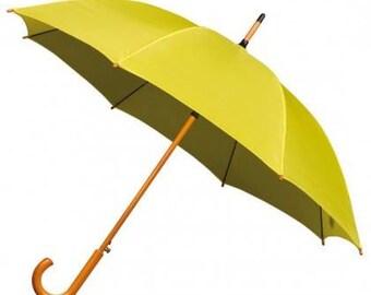 Yellow Wooden Handle Umbrella, yellow umbrella, How I Met Your Mother umbrella, bright yellow, rainy day umbrella, bright umbrella, parasol