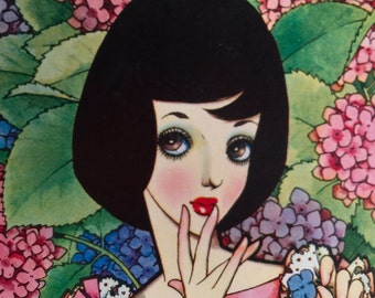 1960s JUNICHI NAKAHARA Big Eyed Girl Spring Flowers DOUBLESIDED Print Perfect for Framing
