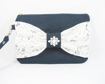 SUPER SALE - Navy with White Lace Bow Clutch - Bridal Clutches, Bridesmaid Wristlet, Wedding Gift - Made To Order
