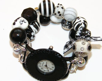 Eclectic Black and White Chunky Beaded Watch - Interchangeable Watch - BeadsnTime - Unique Gift - Stocking Stuffer - Gift for Her - Watch