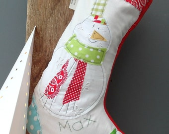 LARGE SNOWMAN Personalised Personalized Christmas Stocking.