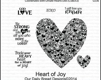 """HEART of JOY- VALENTINEs SET  7 pieces Stamp by""""  Our Daily Bread  """" - Retired and Rare !"""
