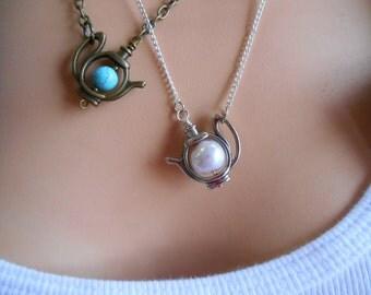 Teapot Necklace, Little Teapot Necklace, Teapot Charm Necklace, Silver Teapot Necklace, Antique Brass Teapot Necklace