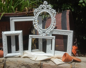 White PICTURE FRAMES - Picture Frame Set - Wedding - Vintage Style Picture Frames