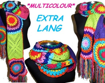 extralong crochet SCARF * Circles and More * Multicolor crochet SCARF