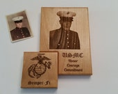 Custom Engraved Military Photo Plaque, Marines, Air Force, Navy, Army, Coast Guard