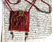 """Reserved for J .Textile necklace - pendant - amulet - """"flowers of fire""""  ."""