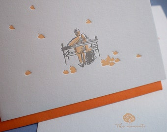 Letterpress Love Card - The Moments - Falling Leaves