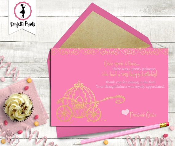 Vintage Princess Thank You Card | Pink and Gold Birthday | Princess Tea Party | Princess Birthday | Printable Thank You Card