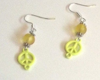 Handmade yellow Peace Earrings, Peace earrings - Unique