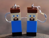 Minecraft Costume Accessory, Minecraft Party Supplies, STERLING SILVER Hook Earrings, 1 Pair LEGO® Minecraft Earrings, Steve, Mindcraft