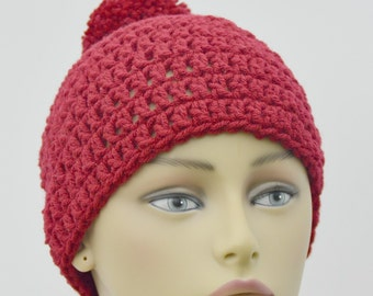 Adult Winter Beanie In Burgundy , pom Pom adult hat , Winter Accessory , Gifts For Her , Gift under 20 , Ready To Ship