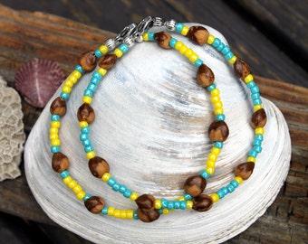 2 Navajo Ghost Bead Bracelets, Ocean Turquoise and Sunshine Yellow, Juniper Seeds, Beach Jewelry