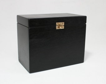 Wooden Box / Storage Box / Black Box / Gift Box / Black Urn / Plywood Box 7.67x4.33x6.69  inch