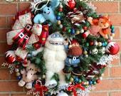 Rudolph Bumble SnowMonster Misfit Toys Wreath, Yukon Cornelius, spotted Elephant, Misfit Dolly, Misfit Airplane, Christmas Wreath