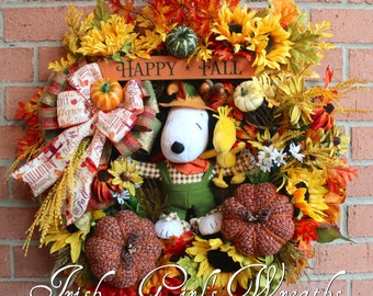 Snoopy and Woodstock Scarecrow Wreath, Peanuts Fall Wreath, Snoopy Fall Wreath, Halloween Wreath, Tweed Pumpkin Wreath, Happy Fall sign