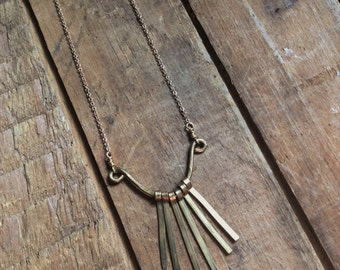 lyre // brass fringe necklace