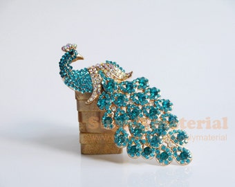 1PCS Peacock-blue Crystal Peacock Alloy accessories handmade material DIY Jewelry supplies