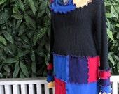 Plus Size Sweater - Boho Clothing - Plus Size Cotton Sweater - Festival Clothing - Rainbow Sweater - Gypsy Clothing - 16 18 20 1X - 2X - 3X