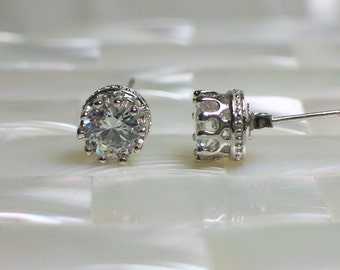 Stud/Post Earrings Silver Earrings 6mm 4 Carat CZ earrings Faux Diamond Silver Plated Brass Stud Earrings Jewelry Jewellery Gift for Her