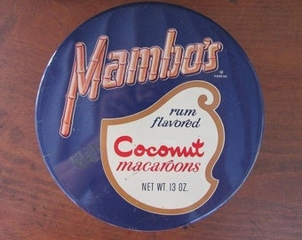 Mambo's Macaroons Tin Vintage Cookie Tin Valley Brook Farms